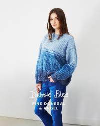 tonal stripe sweater in debbie bliss fine donegal and angel