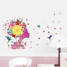 angel girl butterfly flowers birds art decal wall stickers for angel girl butterfly flowers birds art decal wall stickers for girls room home decor diy mural kids rooms wall decoration beach wall stickers bedroom decal