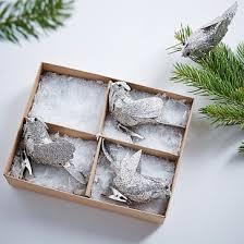 silver glitter bird set of 4 westelm