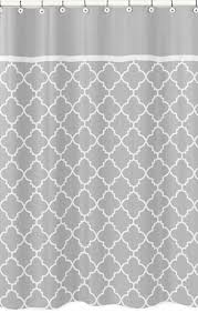 Kids Fabric Shower Curtain - modern gray and white trellis kids bathroom fabric bath shower