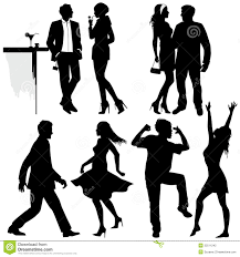 party silhouette several people are dancing on the party stock photography image
