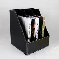 Desk Filing Organizer Slanted 3 Grid A4 Wooden Leather Desk File Book Document Stand