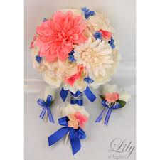coral boutonniere coral royal blue ivory bouquets corsages boutonnieres