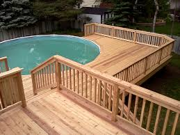 swimming pool simple wooden pool deck ideas for small and round