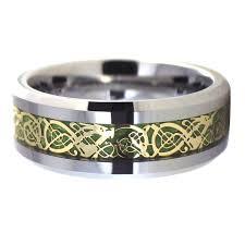 carbon fiber wedding band gold celtic green carbon fiber tungsten ring wedding band