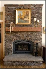 natural stone fireplace mantel shelves elegant modern family room
