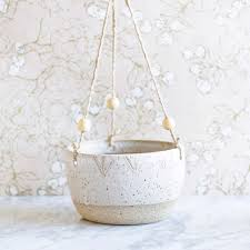 100 white hanging planter white plant pot 9 inch handmade