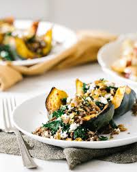 roasted acorn squash with rice pistachio a