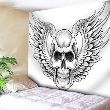 2018 wall decor skull wings print tapestry white w inch l inch in