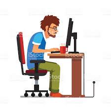 jeu de travail au bureau fans de séance de travail à lordinateur de bureau cliparts