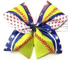softball bows softball and stripes usa glitter cheer bow