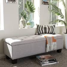 alcott hill back bay upholstered storage bench u0026 reviews wayfair