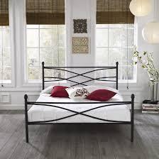 black coated wrought iron leirvik bed frame bedroom magnificent