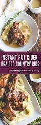 instant pot cider braised country ribs with herbed whipped sweet