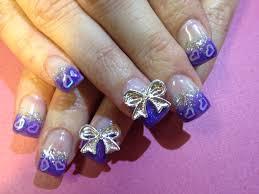 purple and silver bows nail art design idea trendy mods com