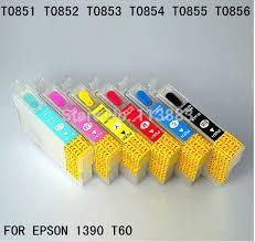 reset epson 1390 printer 6 color 85n t0851n t0856n refillable ink cartridge for epson 1390
