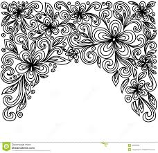 black and white flowers and leaves floral design element in retro