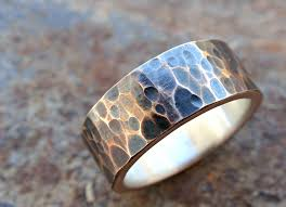 mens wedding band metals buy a custom mens wedding band bronze silver mixed metal ring