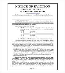 free eviction notice printable sample eviction notices form