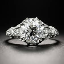 3 12 carat diamond art deco engagement ring gia f vvs1