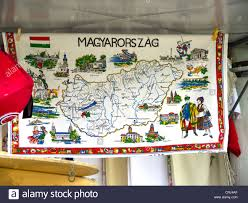 Map Of Budapest Tea Towel With Map Of Hungary In Budapest Hungary Stock Photo