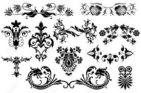 vintage design floral calligraphic vintage design elements isolated on white