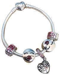 pandora silver clip bracelet images Pandora silver emoji chain heart kiss charm tree of love burst of jpg