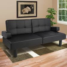 leather faux fold down futon sofa bed couch sleeper furniture