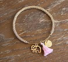 monogram initial bracelet gold expandable wire bangle charm monogram initial bracelet tassel