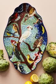 painted platter birds tree painted ceramic platter