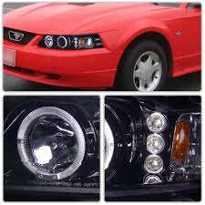 mustang projector headlights ford mustang 1999 2004 smoked projector headlights with led