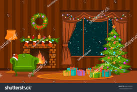christmas living room xmas tree lights stock vector 500150560