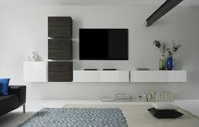 Meuble Tv Longueur Maison Et Mobilier D Intérieur Ensemble Tv Mural Contemporain Suspendu Loudeac Coloris Blanc