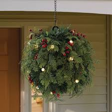 christmas hanging baskets with lights cordless pre lit cedar and berry kissing ball with hanging chain