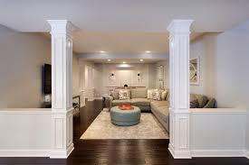 hide column basement traditional with hiding lally columns