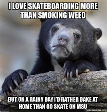 Rainy Day Meme - i love skateboarding more than smoking weed but on a rainy day i d