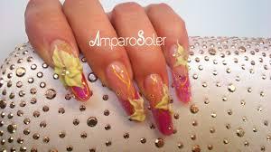 estructura en acrílico de fantasy nails con clear camuflaje rosa