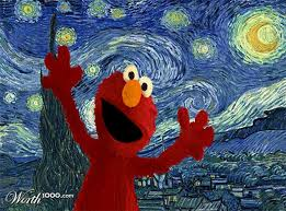 elmo painting classic paintings get recreated with sesame characters