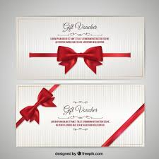 christmas voucher with bow pack vector premium download