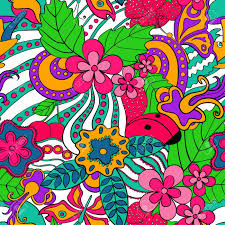 abstract psychedelic seamless pattern colorful summer floral