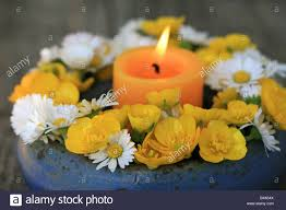 Beautiful Flower Decoration Beautiful Flower Decoration With Candlelight Stock Photo Royalty