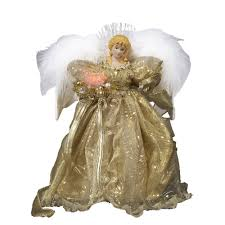 amazon com kurt adler 12 inch fiber optic gold angel tree topper