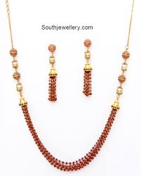 ruby bead necklace images Ruby beads necklace set jewellery designs png