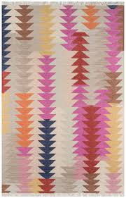 Pink Flat Color Southwest Bohemian Pink Multi Color Geometric Flat Weave Rug