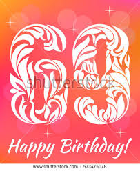 69th birthday card bright greeting card template celebrating 90 stock vector