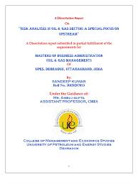 sandeep dissertation report on risk analysis in oil and gas sector