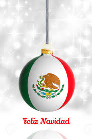 merry christmas mexico christmas ball flag stock photo
