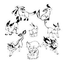 coloring pages evolutions pokemon all eevee to print online eevee