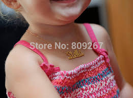 name necklace store images Free shipping gold plated over silver custom baby name necklace in jpg