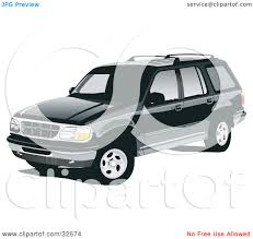 Ford Explorer Black - clipart illustration of a black ford explorer suv with privacy